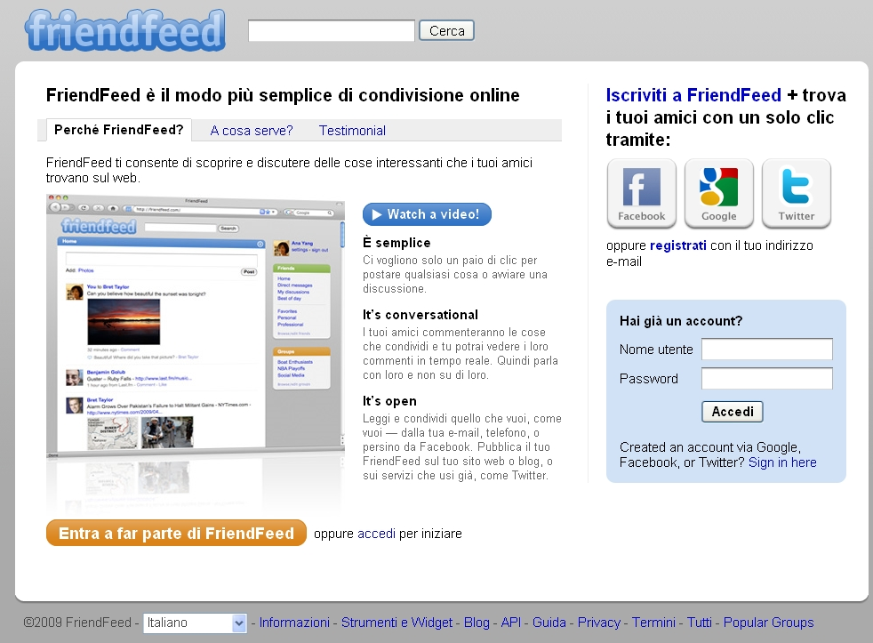 Homepage FriendFeed