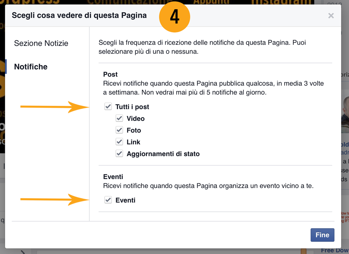 Pagina Facebook notifiche post ed eventi