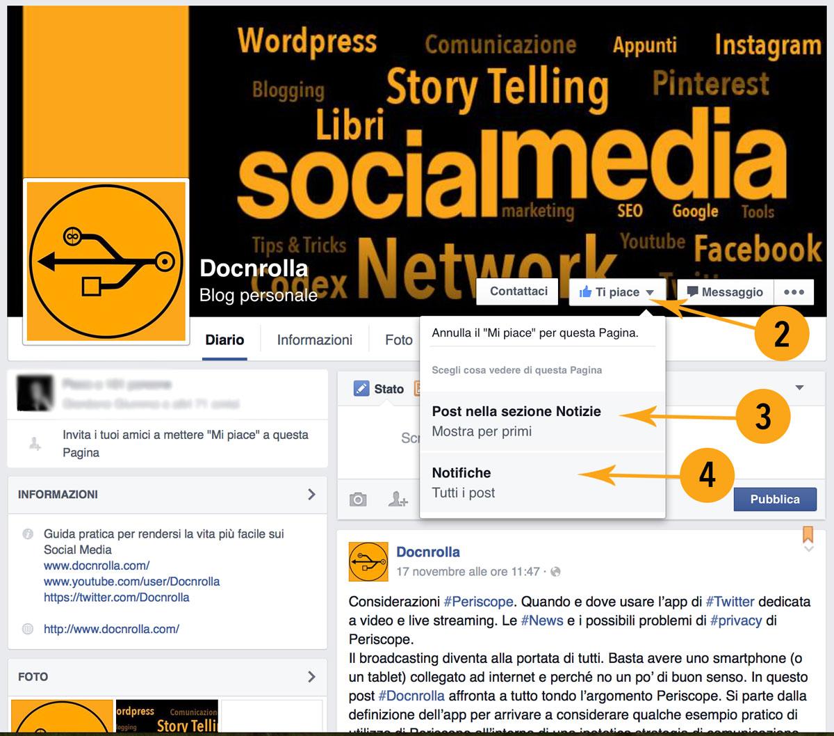 Pagina Facebook notifiche degli aggiornamenti