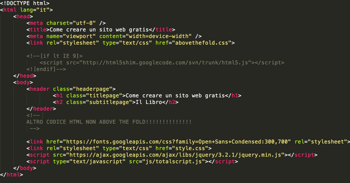 Immagine mostra il modo corretto di scrivere il codice dei contenuti above the fold