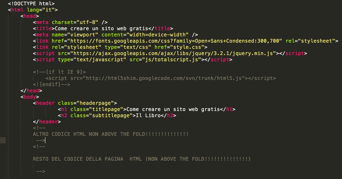 Immagine mostra il modo sbagliato di scrivere i contenuti above the fold