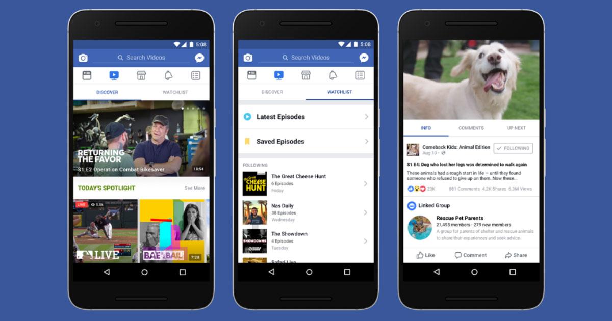 Facebook Watch: video, show, TV tematica interattiva condivisibile.