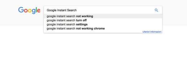 Immagine di Google Instant Search in funzione