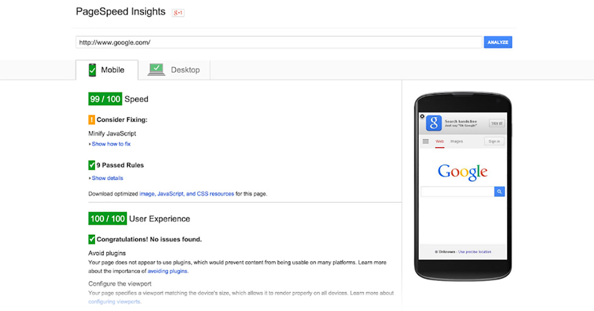 Google PageSpeed Insights Screenshot Google mobile